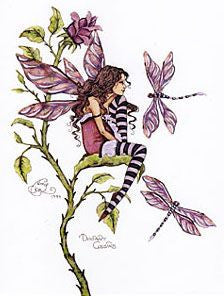 Amy Brown Distant Cousins Fairy Dragonfly Postcard