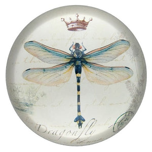 Vintage Style Glass Domed Dragonfly Paperweight
