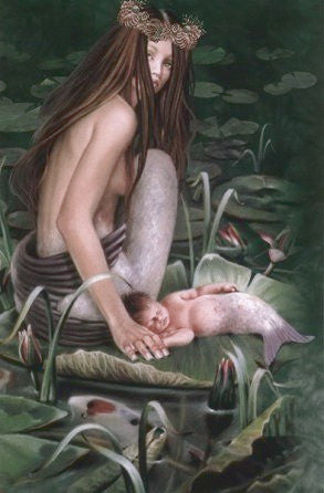 Sheila Wolk Dreamkeeper Mermaid + Baby  Greeting Card