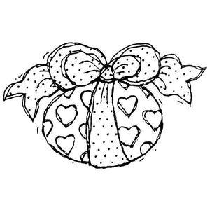 Easter Egg with Hearts and Ribbon Wood Mounted Rubber Stamp