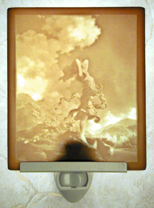 Maxfield Parrish Ecstasy Porcelain Lithophane Night Light -- Flat