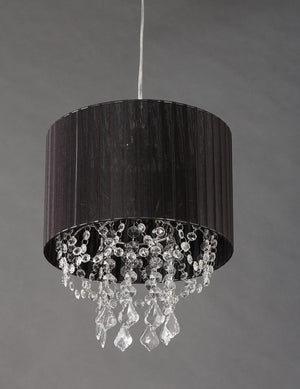 Black String Fabric + Acrylic Crystals Chandelier