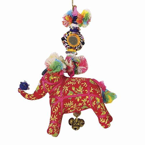 Bohemian Decor -- Fabric Holi Elephant Colorful Ornament