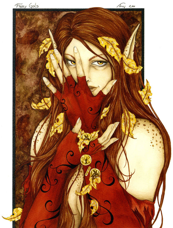 Amy Brown Faery Gold Fairy Print -- Limited Edition