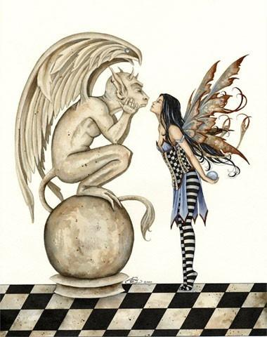 Amy Brown Fairy + Gargoyle Greeting Card