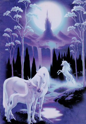 Family of Unicorns with Castle Greeting Card