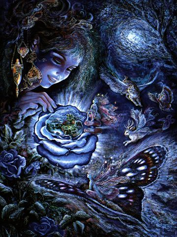 Josephine Wall Fantasy in Blue Birthday Greeting Card