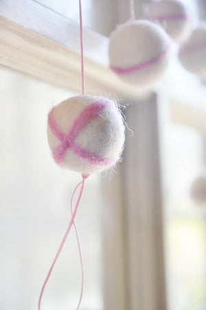 6' Ivory and Pink Felted Pom Pom Garland