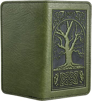 Oberon Leather Fern Green Celtic Oak Checkbook Cover
