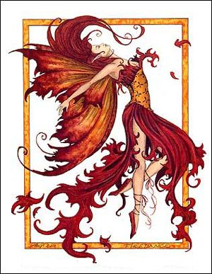 Amy Brown Fire Dance Fairy Greeting Card