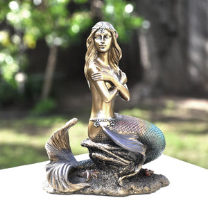 Bronze Colored Mermaid Folding Arms Sculpture