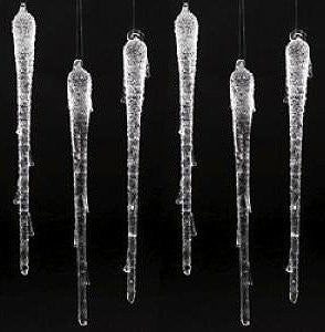 "9-1/2"" Inch Christmas Winter Wedding Glass Icicle Ornaments -- Set of 6"