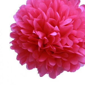 Bohemian Wedding Fuchsia Pink Pom Poms -- Set of 12 -- Two Sizes
