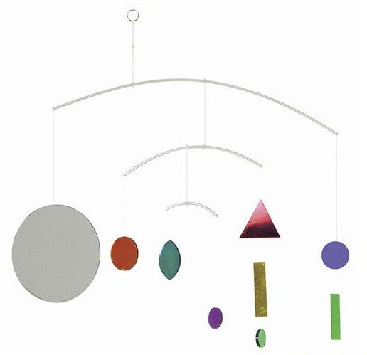 Geometric Rainbow Mirror Mobile -- 20 Inches Wide