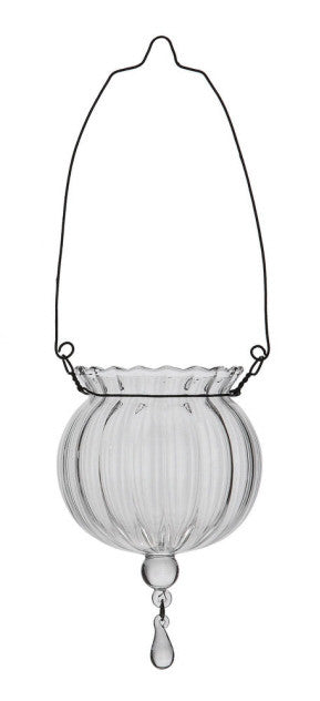 Clear Glass Hanging Vase Candle Holder