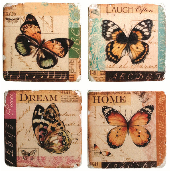 Butterfly Vintage Images Stone Coasters Set