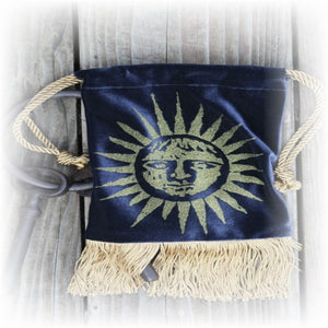 Gravestone Artwear Velvet Celestial Gold Sunface Pouch on Midnight Blue