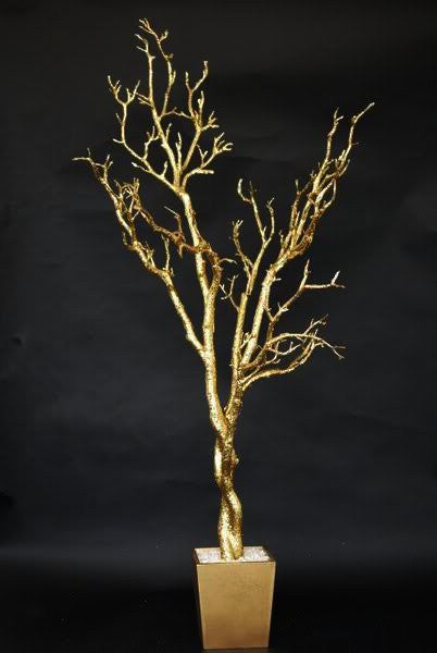 4 Foot Gold Wedding Tree in Base