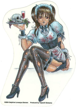 Delphine Levesque Demers Gothic Waitress with Skull Plate Sticker