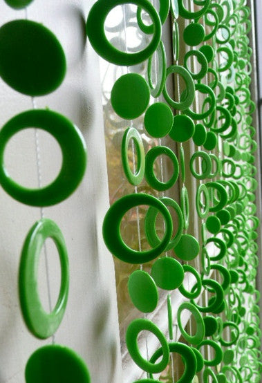 Random Green Retro Circles Beaded Curtain