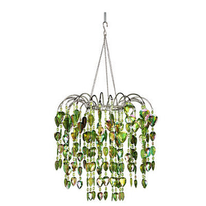 Beaded Teardrop Waterfall Chandelier -- Lime Green