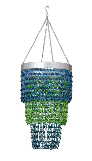 Beaded Green and Blue Mini Ball Three Tier Chandelier
