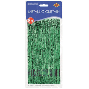 Metallic Foil Curtain in Black, Red, Teal, Silver, Blue  or Green