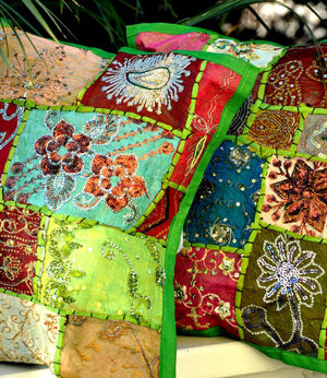 Bohemian Pillow Cover -- Green