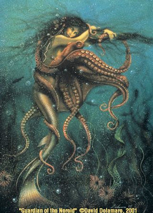 David Delamare Mermaid Guardian of the Nereid Greeting Card