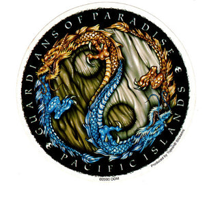 Round Guardians of Paradise Pacific Islands Dragon Yin Yang Sticker