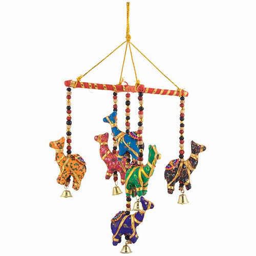 Bohemian Decor --  Colorful Camel Mobile with Bells