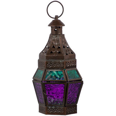 Bohemian Purple & Teal Candle Lantern