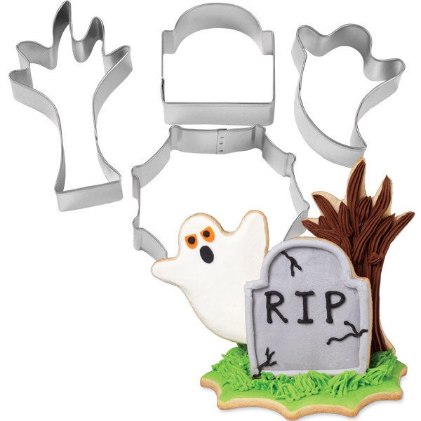 4 RIP Halloween Metal Cookie Cutters
