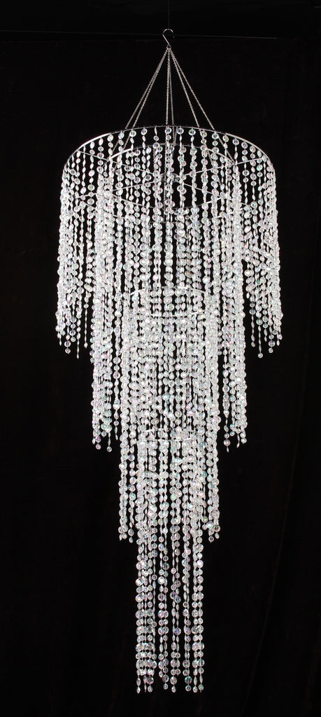 Four Tier Large Iridescent Clear Diamond Cut Beaded Chandelier 4 5 Feet Long