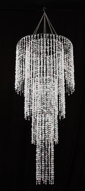 Four Tier Large Iridescent Clear Diamond Cut Beaded Chandelier - 4.5 Feet Long