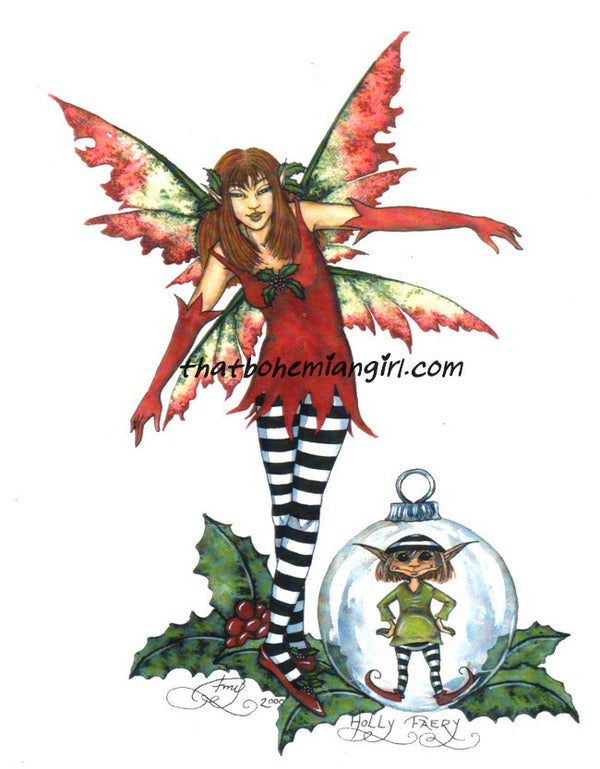 Amy Brown Christmas Holly Faery Print
