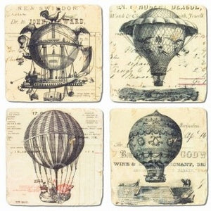 Hot Air Balloon Vintage Images Stone Coasters Set