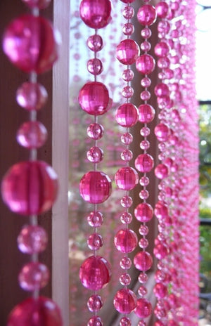 8' Beaded Curtain -- Hot Pink Mini Balls