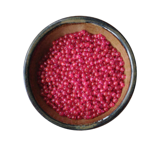 300 Pieces 5mm Hot Pink Printed Glass Round Beads