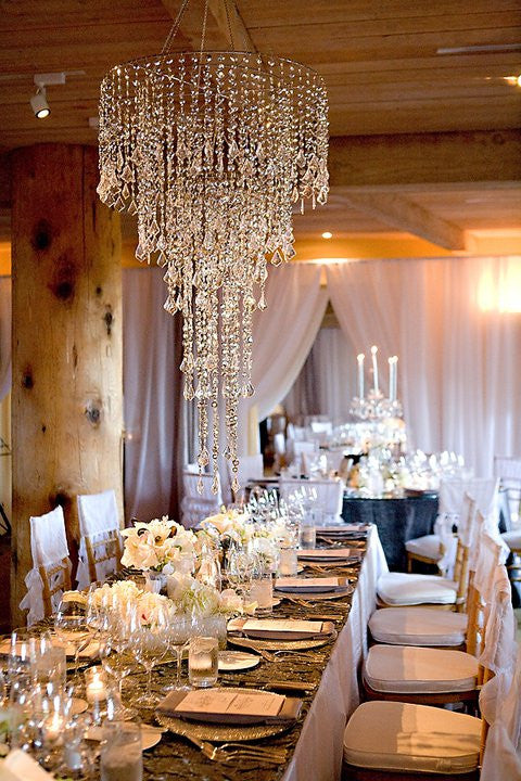 Large Beaded Chandelier -- 5 Tiers -- Iridescent Clear