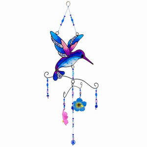 Glass Hummingbird & Hibiscus Flower Suncatcher