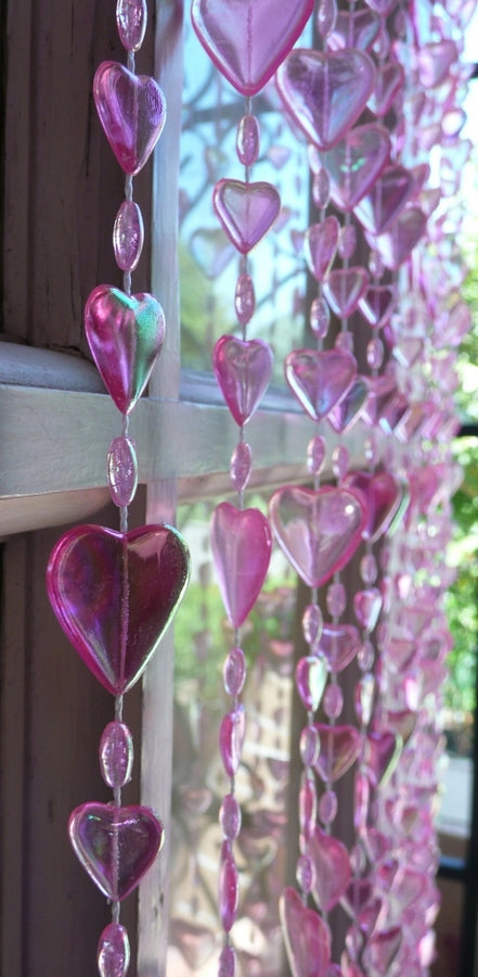 Ice Pink Hearts Beaded Curtain