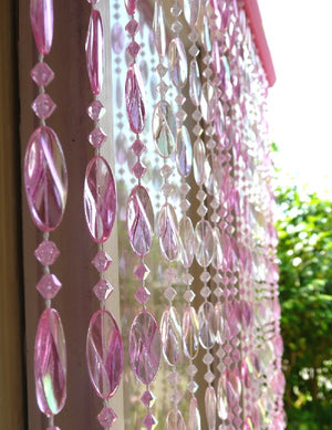Pink Beaded Curtain -- Iridescent Swirl