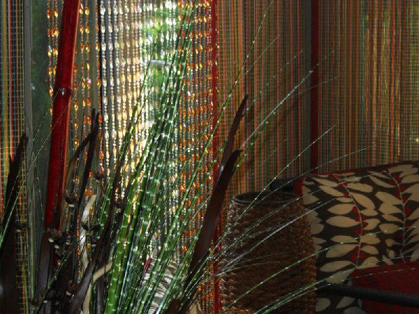 8' Foot Long Brown Beaded Curtain -- Iridescent Swirl