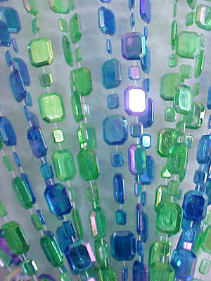 Iridescent Green & Blue Beaded Curtain -- Emerald Cut