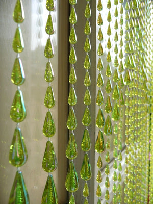 Lime Green Raindrop Beaded Curtain