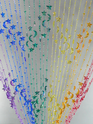 6' Rainbow Celestial Beaded Curtain -- Stars & Moons
