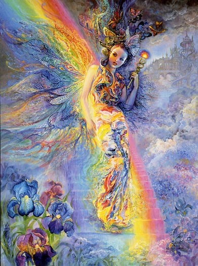 Josephine Wall Iris Keeper of the Rainbow Greeting Card
