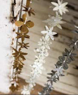 Holiday Antiqued Metal Flower Garland --Silver, Ivory or Gold