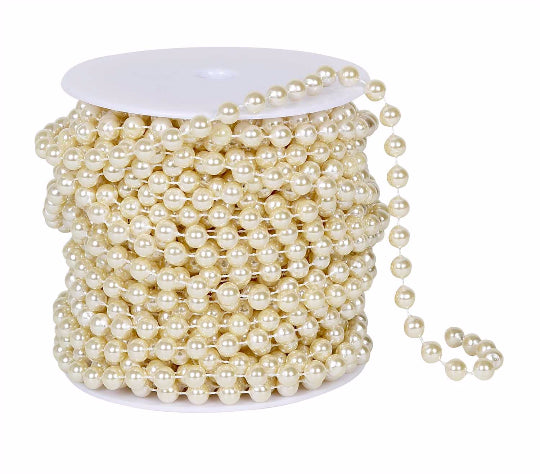 8mm Ivory Pearl Bead Spool -- 66 feet